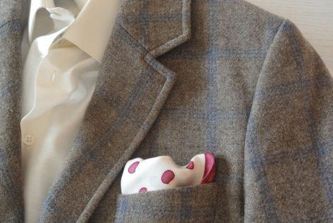 """Pañuelo de bolsillo para caballero de 36x36 cm ( 14""""x14"""") blanco y morado"""